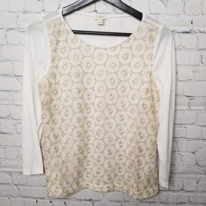 J. crew 3/4 sleeve top with gold lace detailing